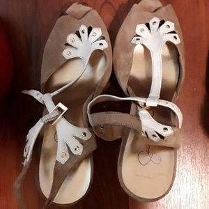 Beige and White Heels